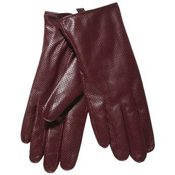 Dámské kožené rukavice s perforací bata, červená, 904-5114 - 13