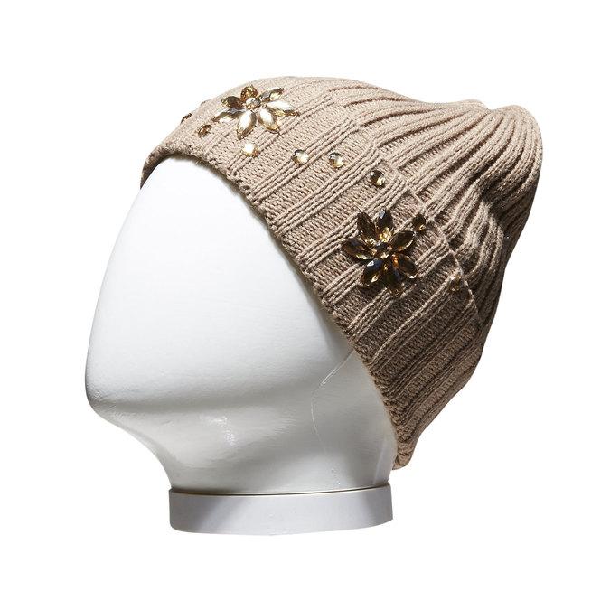 Pletená čepice s kamínky bata, žlutá, 909-8300 - 13