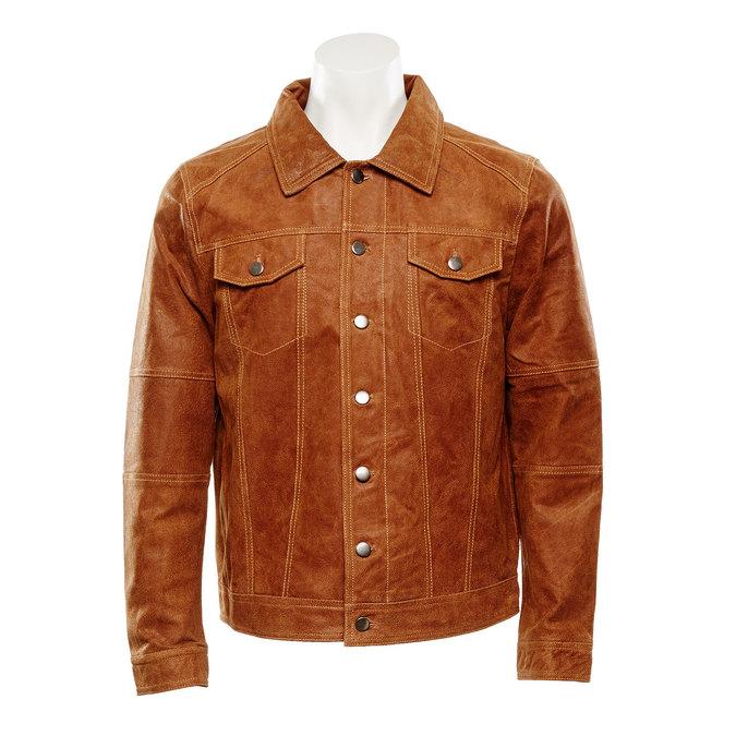 Pánská kožená bunda bata, hnědá, 973-3104 - 13
