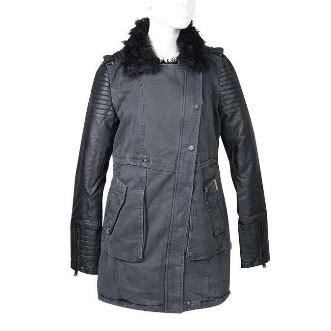Dámská zimní bunda s kožešinovým límcem khujo, černá, 979-6023 - 13