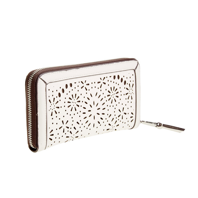 Dámská peněženka s perforací bata, bílá, 941-1131 - 13