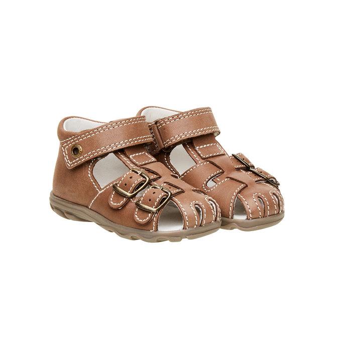 Dětské kožené sandály richter, hnědá, 164-4001 - 26
