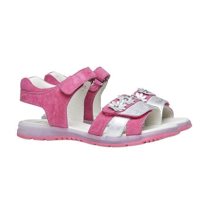 Kožené sandály s kytičkami mini-b, růžová, 263-5163 - 26
