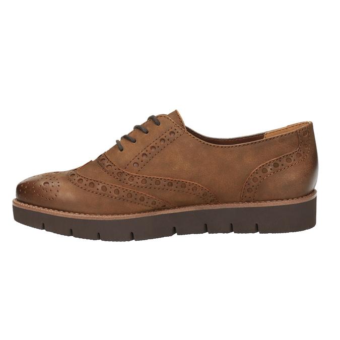 Dámské kožené polobotky bata, hnědá, 526-4600 - 26