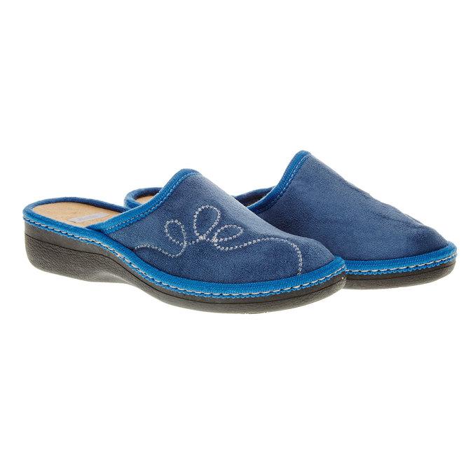 Dámské pantofle s výšivkou bata, modrá, 579-9234 - 26