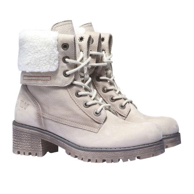 Kožená zimní obuv s kožíškem weinbrenner, béžová, 696-8168 - 26