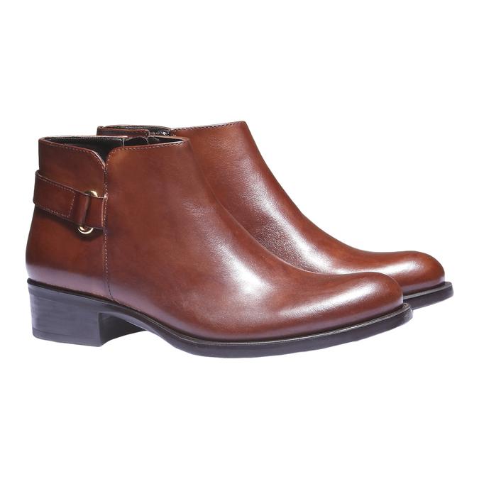 Kožené kotníkové boty s páskem bata, hnědá, 694-3159 - 26