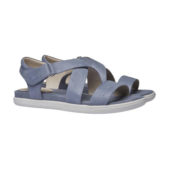 Dámské kožené sandály bata, modrá, 564-9351 - 26