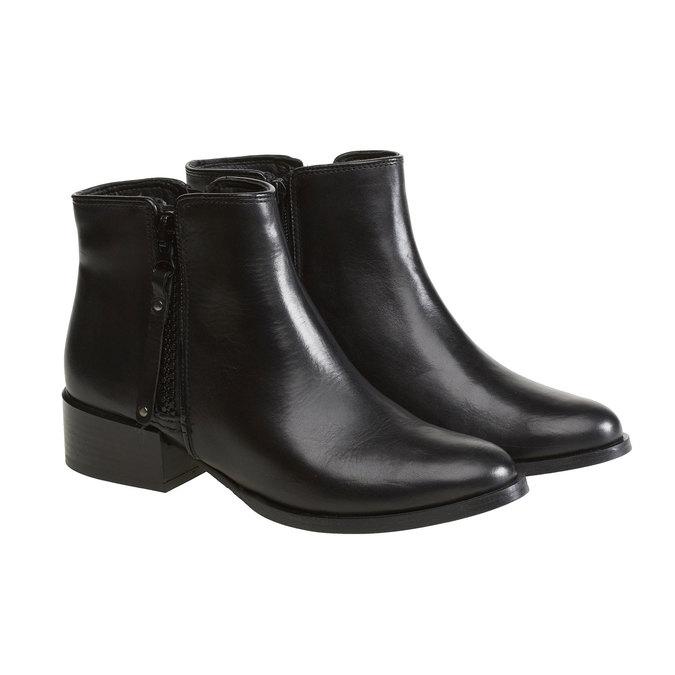 Kožená kotníčková obuv bata, černá, 594-6145 - 26