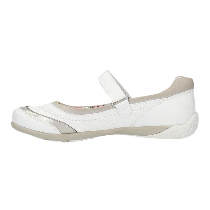 Bílé baleríny s páskem přes nárt bata, bílá, 321-1310 - 26
