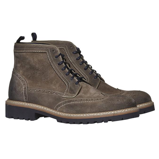 Semišová kotníčková obuv bata, hnědá, 893-2372 - 26