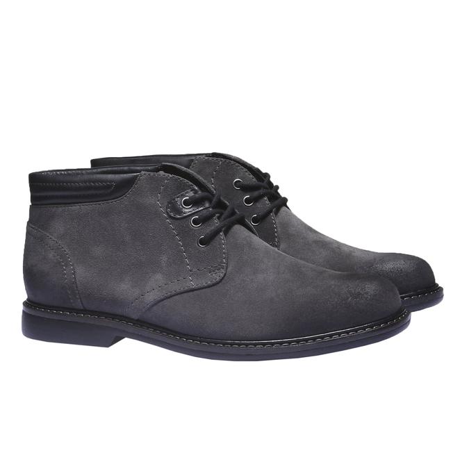 Pánské semišové boty bata, šedá, 893-2261 - 26