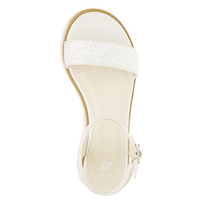 Sandály na flatformě se třpytkami mini-b, bílá, 361-1165 - 19