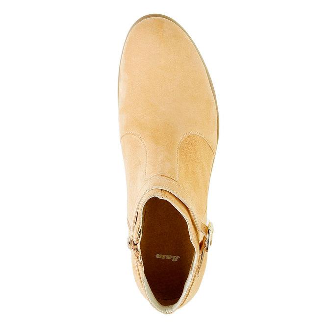 Kotníčkové kozačky z broušené kůže bata, béžová, 593-8402 - 19