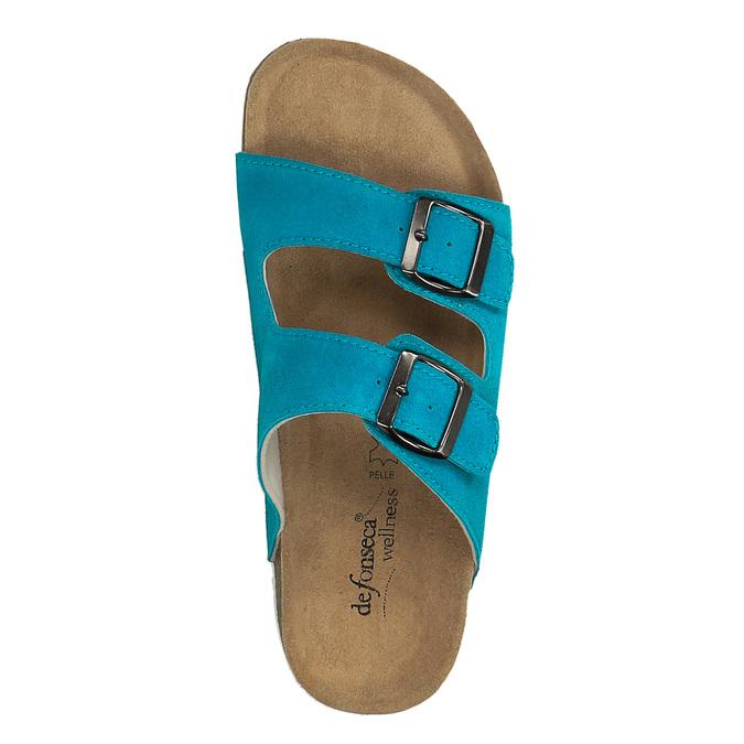 Dámské kožené pantofle de-fonseca, tyrkysová, 573-9620 - 19