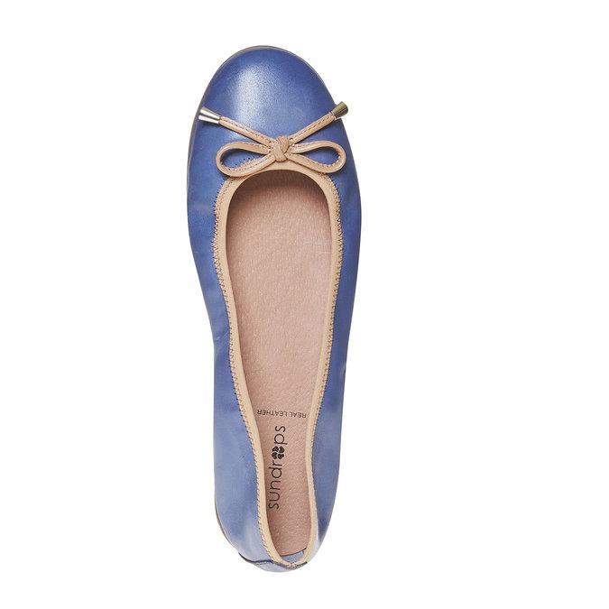 Dámské kožené baleríny bata, modrá, 524-9485 - 19