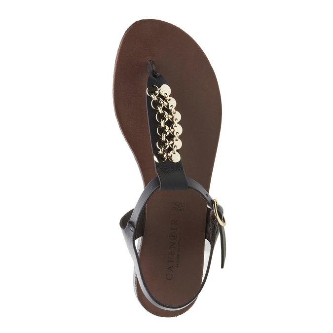 Dámské kožené sandály s T-páskem cafe-noir, černá, 564-6040 - 19