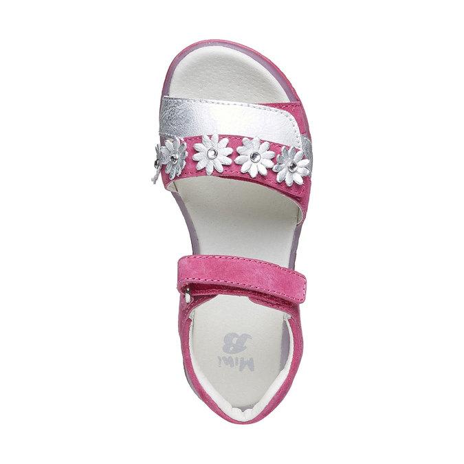 Kožené sandály s kytičkami mini-b, růžová, 263-5163 - 19