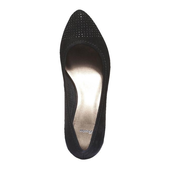 Kožené lodičky s prodlouženou špičkou bata, černá, 626-6103 - 19
