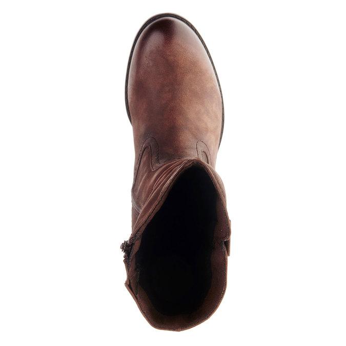 Kožené kozačky na stabilním podpatku bata, hnědá, 696-4127 - 19