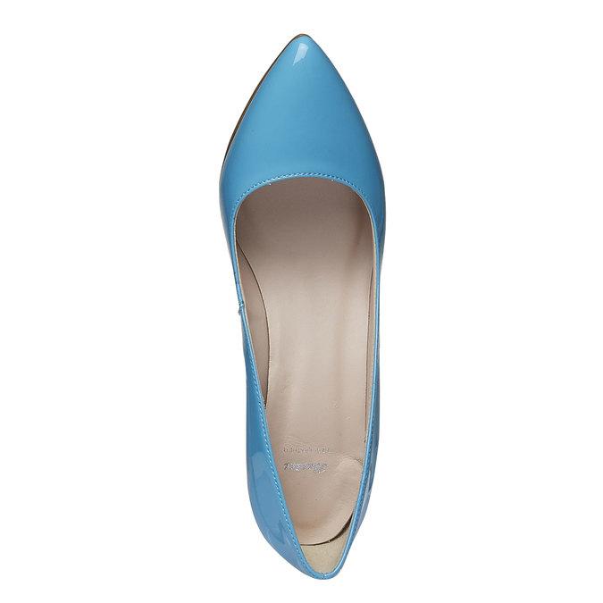Modré kožené lodičky bata, modrá, 728-9955 - 19