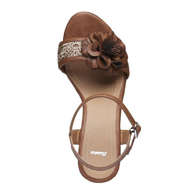 Sandály na platformě s kytičkou bata, hnědá, 761-4529 - 19