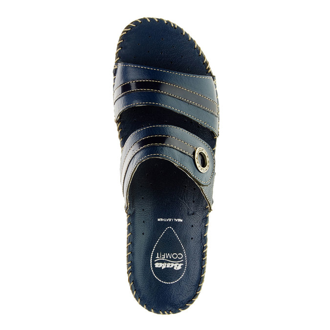 Dámské pantofle na klínovém podpatku comfit, modrá, 674-9249 - 19