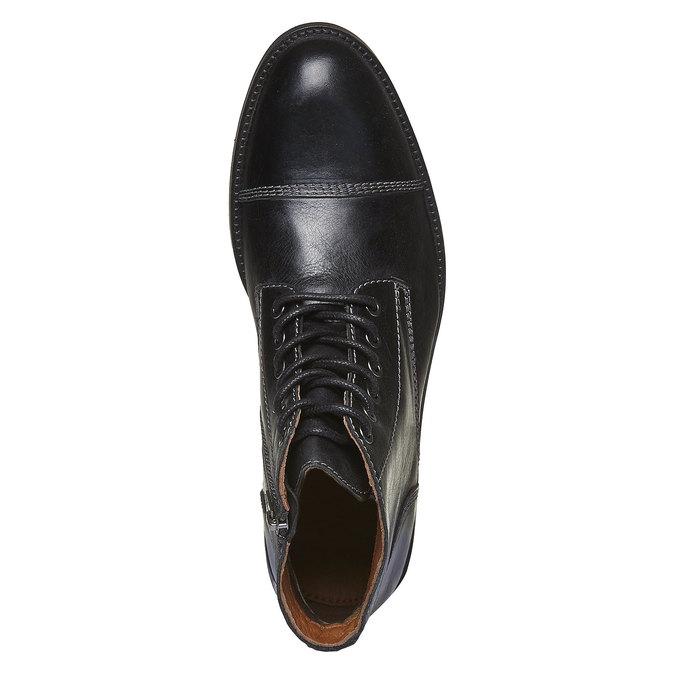 Kožené kotníkové boty s výrazným prošitím bata, černá, 894-6125 - 19