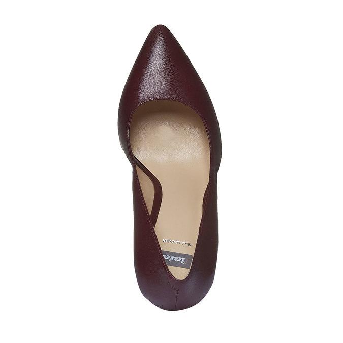 Kožené lodičky na vysokém podpatku bata, fialová, 724-5796 - 19