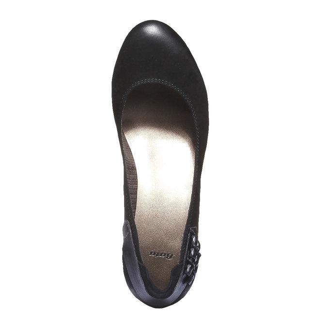 Kožené lodičky na nízkém podpatku bata, černá, 626-6102 - 19