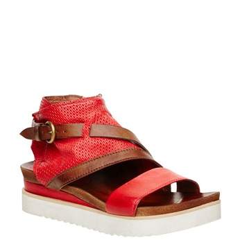Dámské kožené sandály bata, červená, 566-5104 - 13