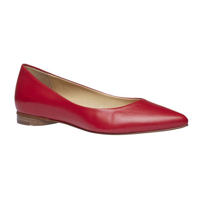 Dámské kožené baleríny do špičky bata, červená, 524-5493 - 13