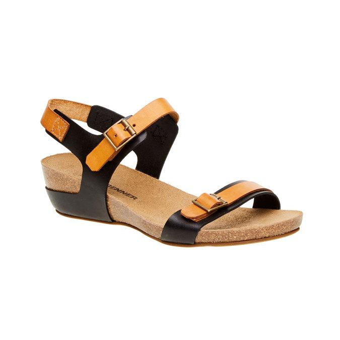 Kožené sandály na klínovém podpatku weinbrenner, černá, 564-6520 - 13