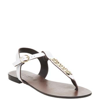 Kožené dámské sandály cafe-noir, bílá, 564-1040 - 13