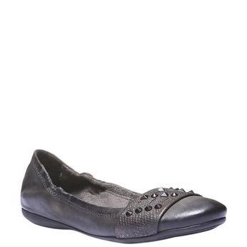 Kožené baleríny s kovovými detaily bata, šedá, 526-9101 - 13