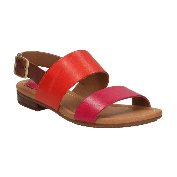 Kožené sandály s barevnými pásky clarks, červená, 564-5010 - 13