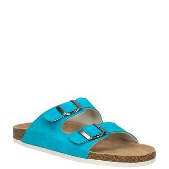 Dámské kožené pantofle de-fonseca, tyrkysová, 573-9620 - 13