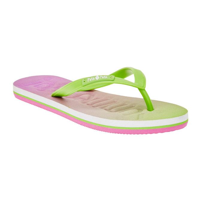 Dámské žabky pata-pata, zelená, růžová, 581-7601 - 13