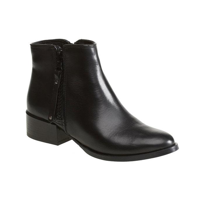 Kožená kotníčková obuv bata, černá, 594-6145 - 13