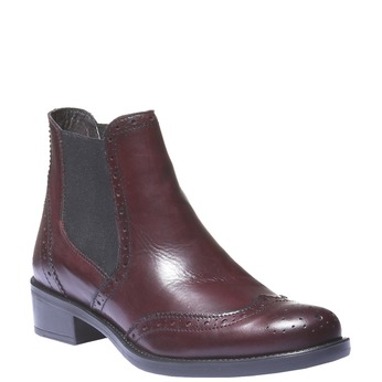 Kožené boty chelsea se zdobením typu brogue bata, červená, 594-5532 - 13