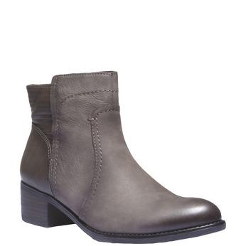 Kožená kotníčková obuv s prošíváním bata, šedá, 596-2103 - 13