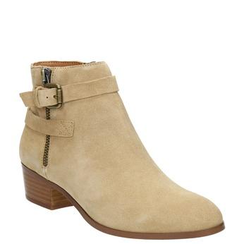 Dámská kotníčková obuv z broušené kůže bata, béžová, 693-1600 - 13