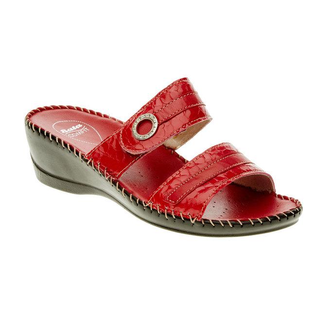 Dámské pantofle na klínovém podpatku comfit, červená, 674-5249 - 13