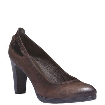Kožené lodičky na vysokém podpatku bata, hnědá, 626-4100 - 13