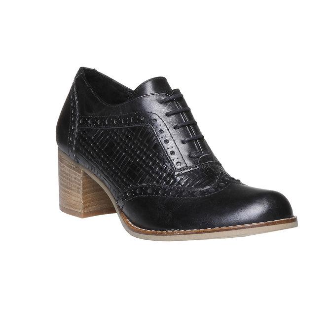 Kožené polobotky na podpatku bata, černá, 624-6386 - 13