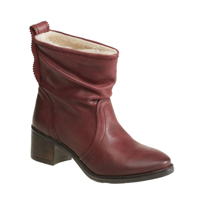 Kožená kotníčková obuv bata, červená, 696-5108 - 13