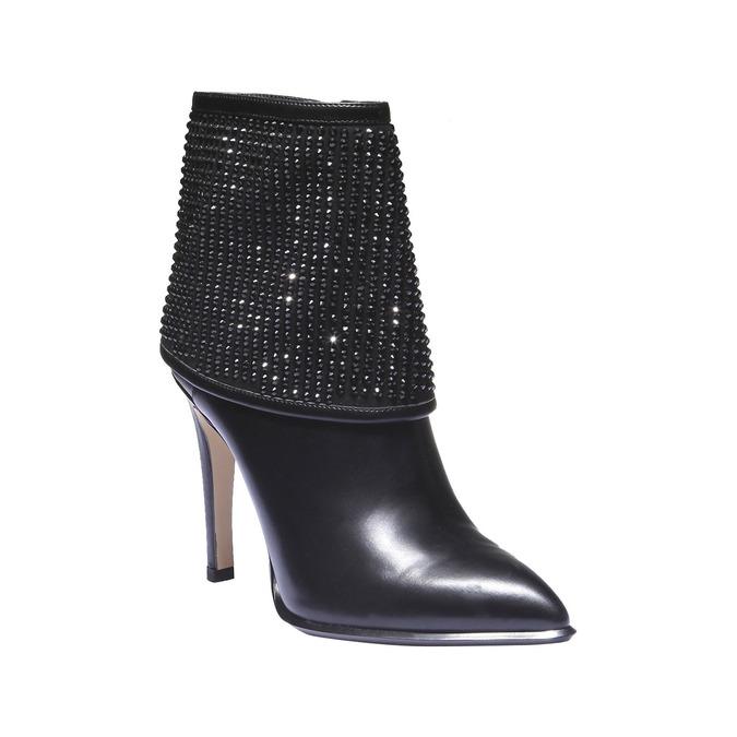 Kozačky na stiletto podpatku se štrasem bata, černá, 721-6587 - 13