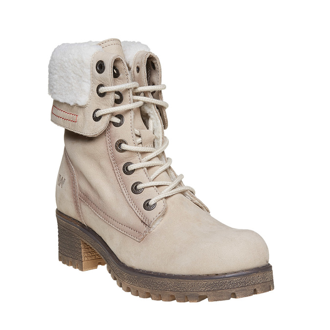 Kožená zimní obuv s kožíškem weinbrenner, béžová, 696-8168 - 13