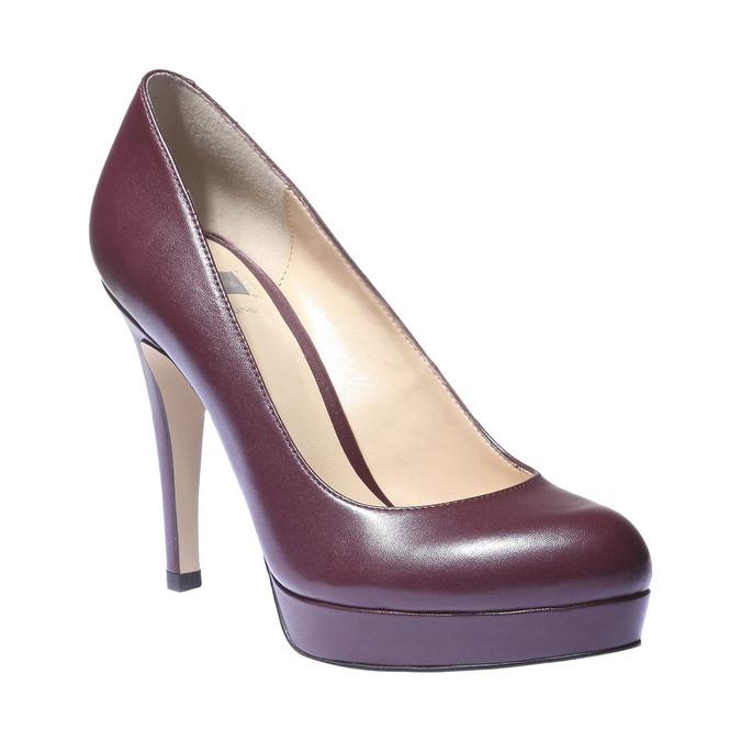 Kožené lodičky na vysokém podpatku bata, fialová, 724-5794 - 13