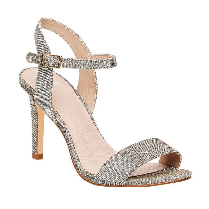 Stříbrné sandály na jehlovém podpatku bata, stříbrná, 761-1310 - 13